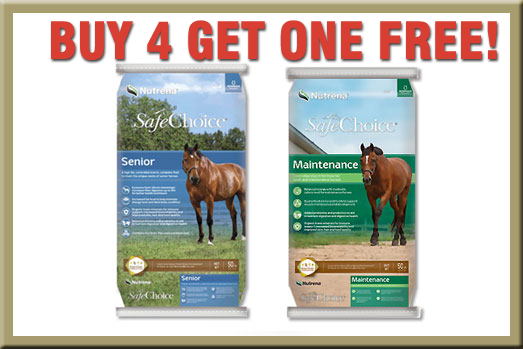 Nutrena SafeChoice Horse Feed Sale - Buy 4 get ONE FREE!