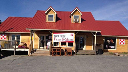 Look for the North Fulton Feed & Seed red roof
