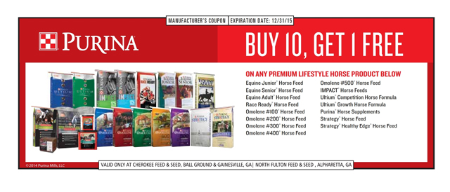 Use Your Purina Horse Feed Frequent Buyer Coupon at North Fulton Feed & Seed