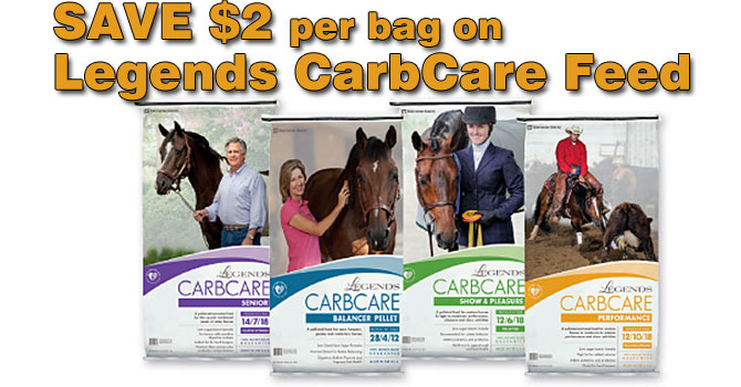 Save $2 per bag on Legends CarbCare horse feed at North Fulton Feed & Seed