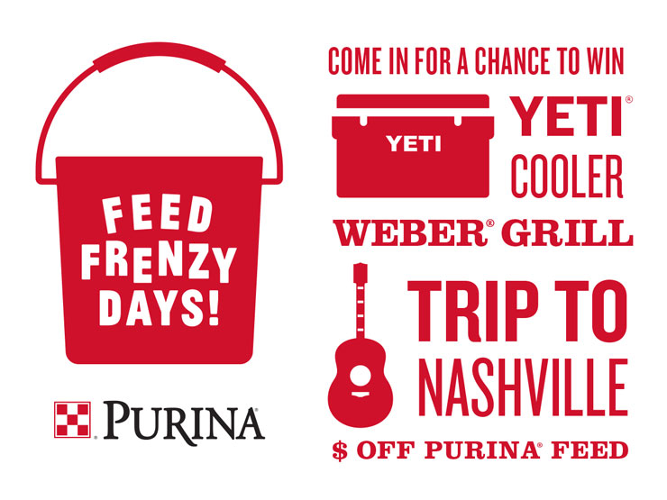 Win prizes during Purina Feed Frenzy Days at North Fulton Feed & Seed in Alpharetta, GA