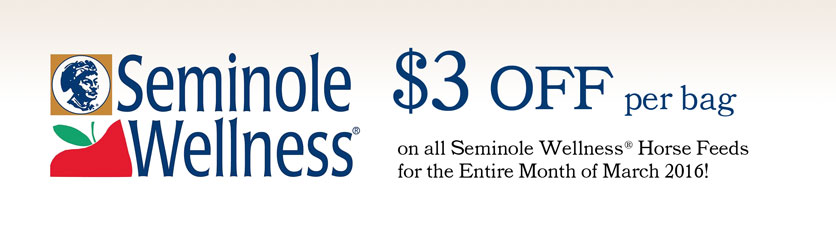Seminole Wellness March 2016 Sale - Save $3 per bag