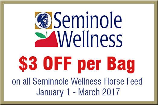 Save $3 per bag on Seminole Wellness Horse Feed