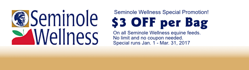 Save $3 per bag on Seminole Wellness Horse Feed