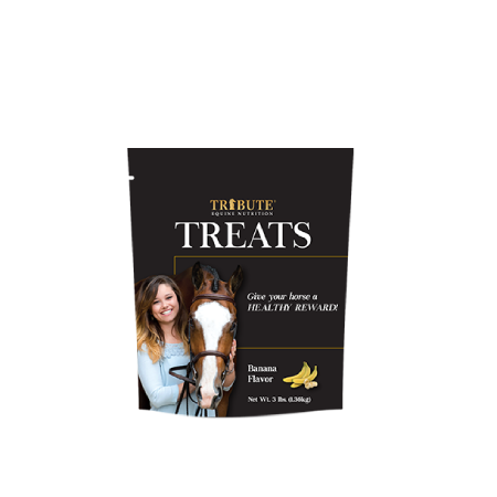 a bag of tribute equine Banana Treats for horses