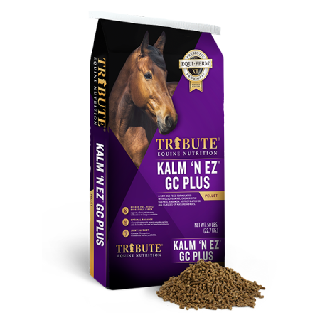 A bag of Tribute Kalm 'N EZ GC Plus from Tribute Equine Nutrition
