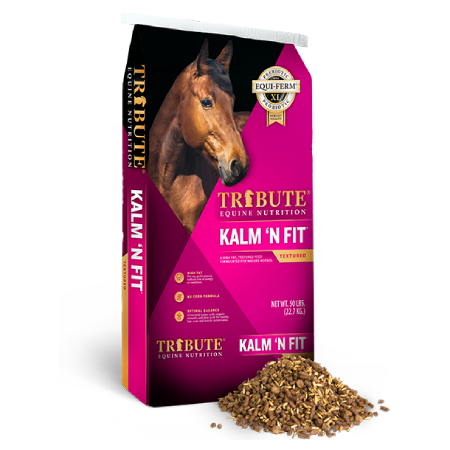 A bag of Tribute Kalm 'N Fit horse feed