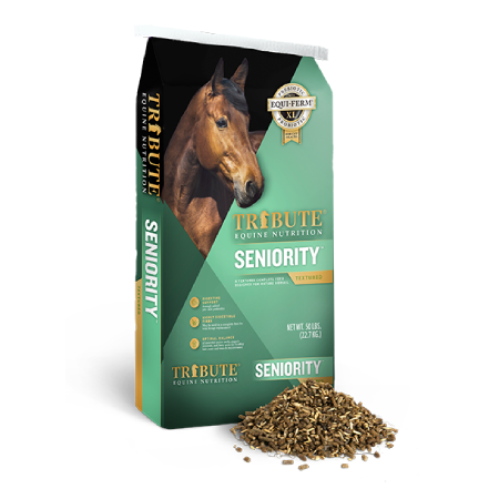 a bag of Tribute Seniority Textured Horse Feed