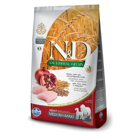 Farmina N&D Ancestral Grain: Chicken Pomegranate Adult Medium & Maxi